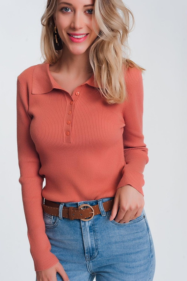 Rosa Pullover mit Kragen und Knopfleiste