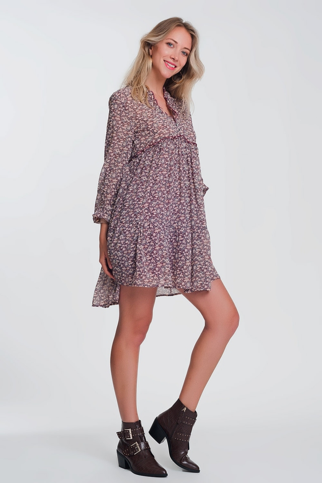 Smock mini dress with ruffle neck in maroon ditsy floral