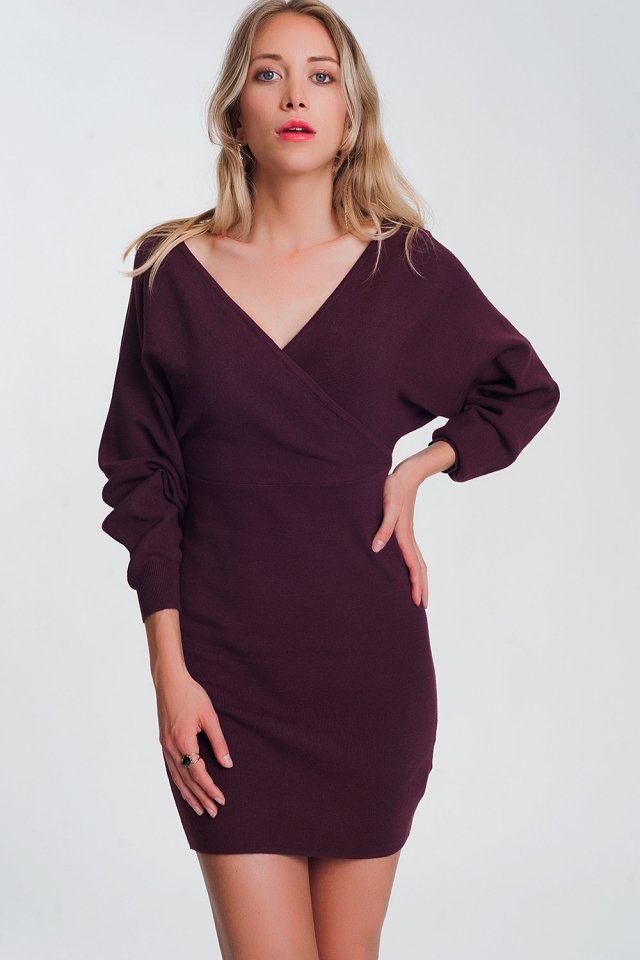 V neck Knitted dress with volume sleeve in maroon