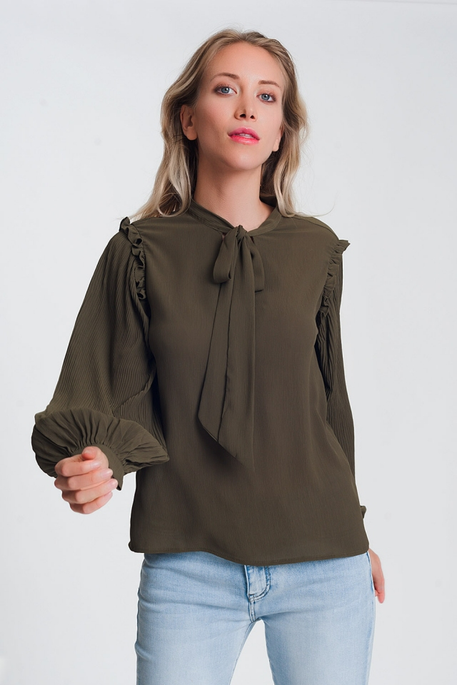 Top with volume sleeve and tie front detail in khaki