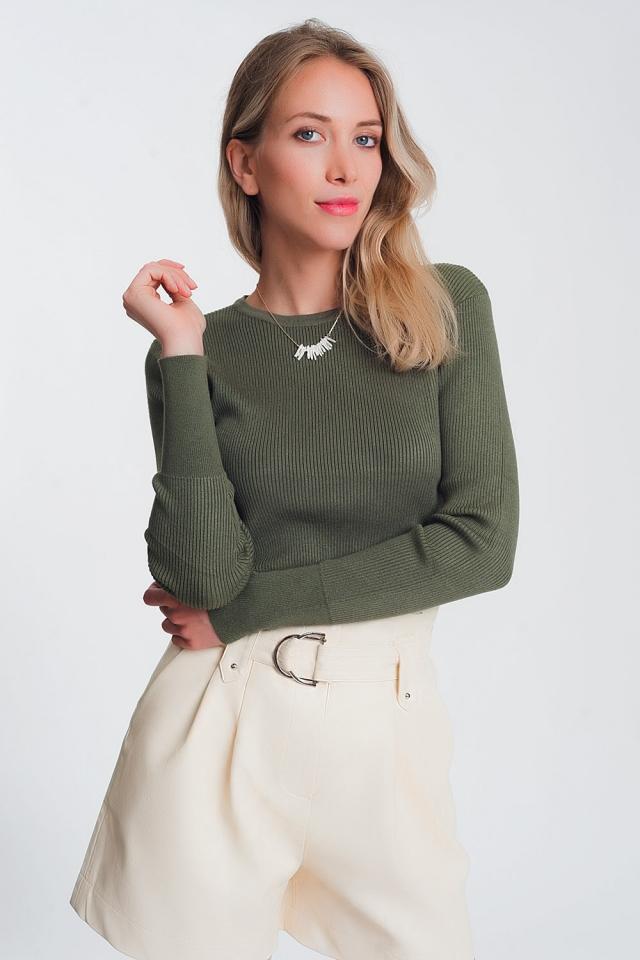 Fitted jumper in khaki rib knit