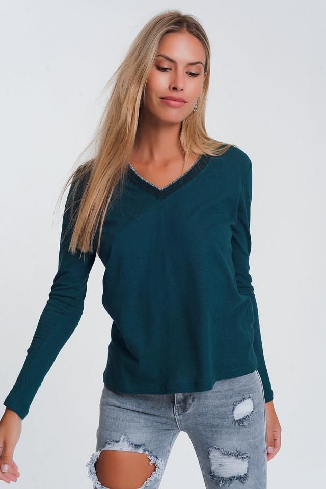Leicht Pullover mit funkeln V-Ausschnitt in Grün