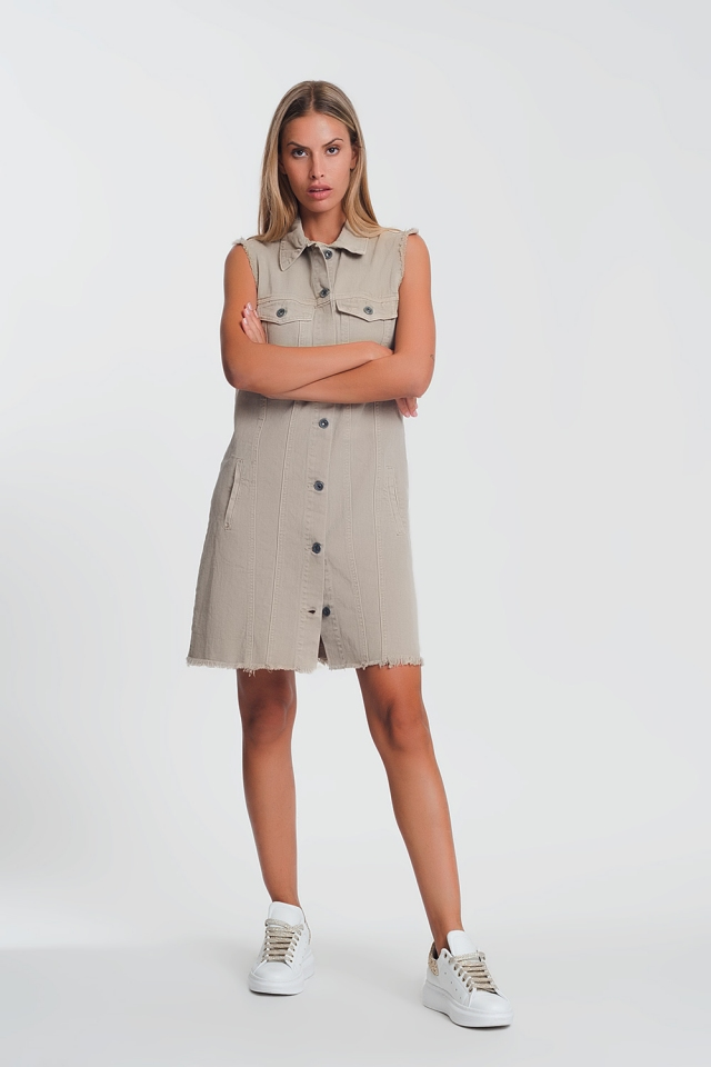 sleeveless denim dress in beige