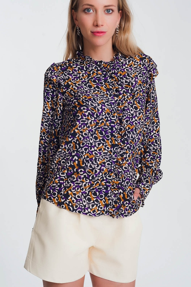 Ruffle front printed blouse in navy