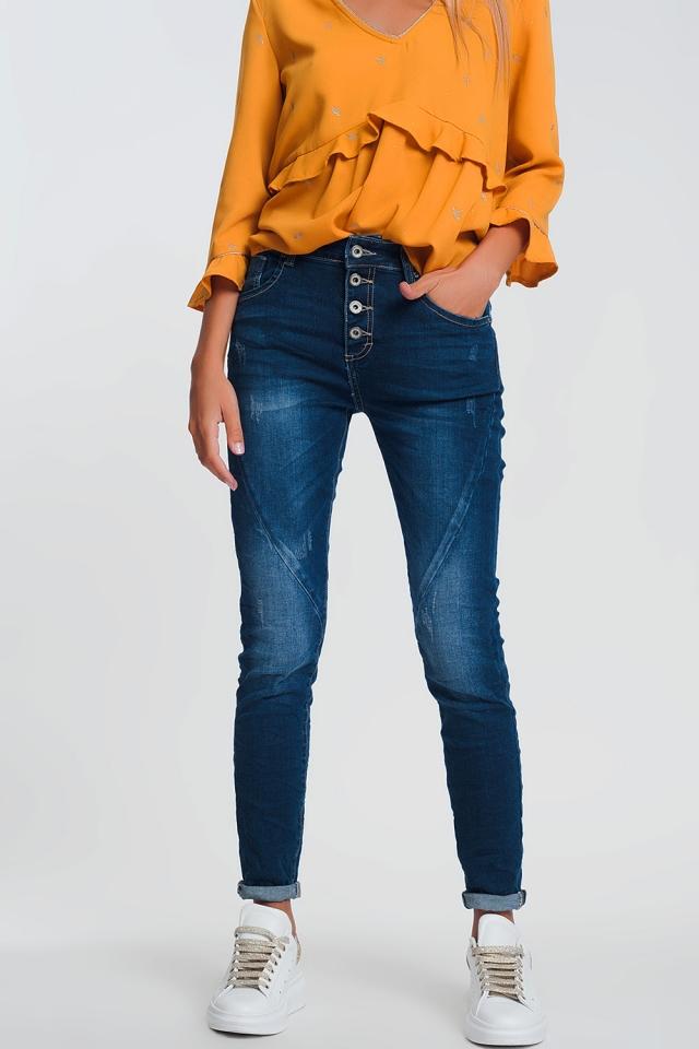 Boyfriend-Jeans in licht denim in dunkelblauer Waschung