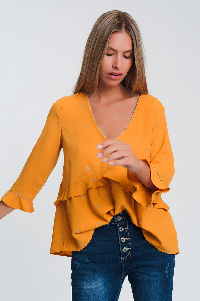 Lightweight long sleeve v neck top with ruffle detail in mustard with gold geoprint