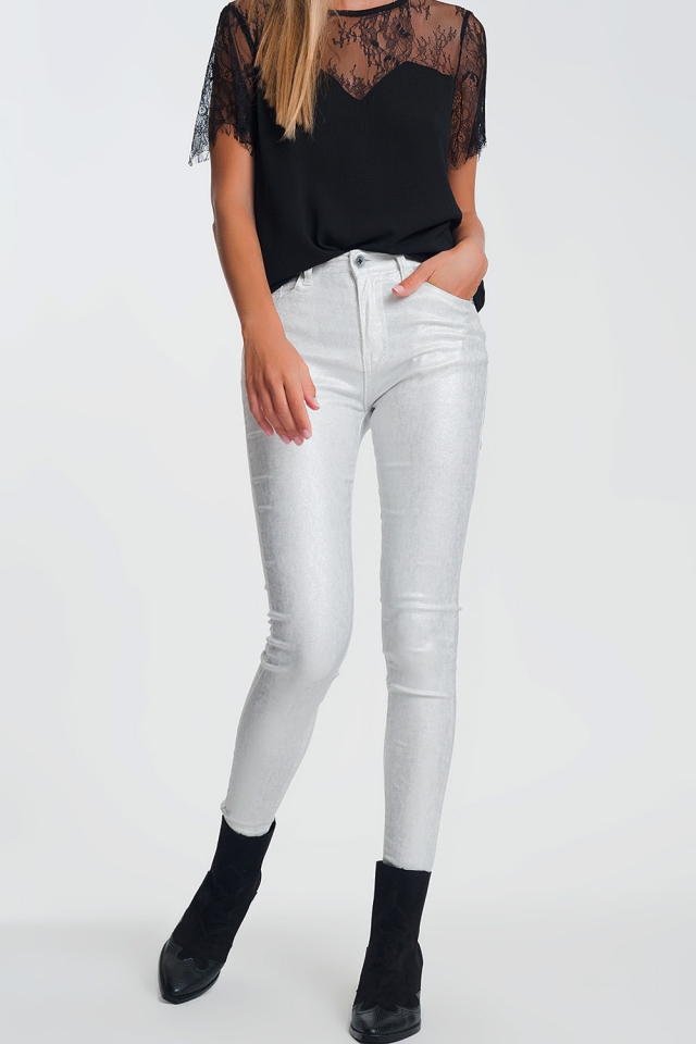 White skinny jeans with silver effect