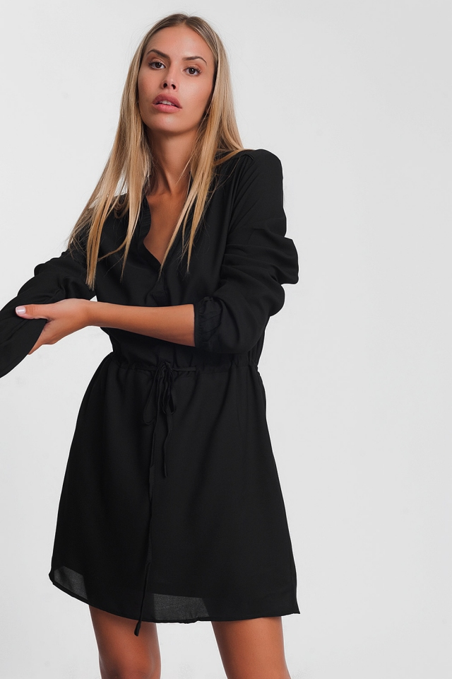 Black tie waist shirt mini dress