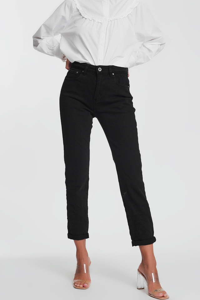 High waist black jeans