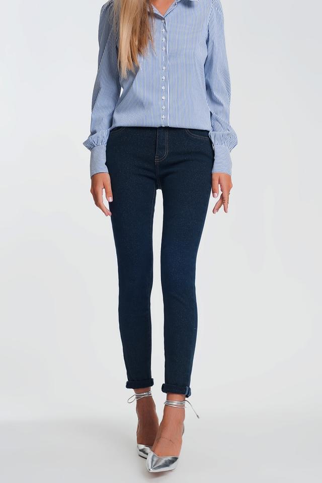 Sparkley high waist jeans in dark wash