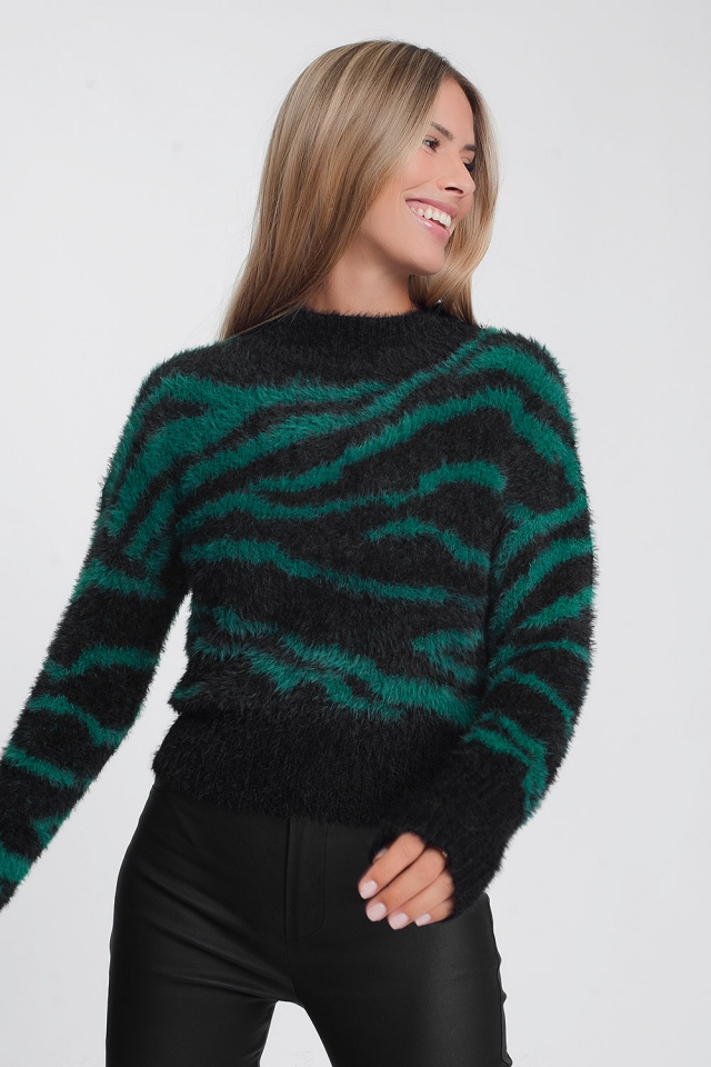 Green soft sweater long sleeved