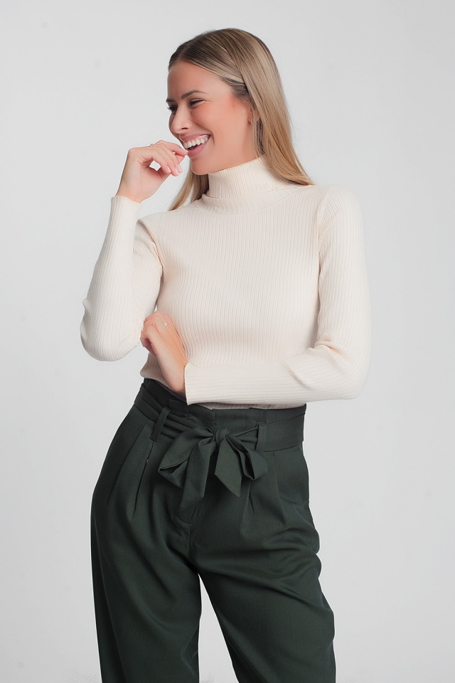 Beige sweater with turtle neck