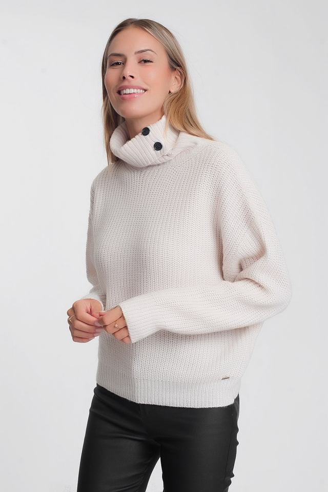 Cream sweater with high neck and buttons