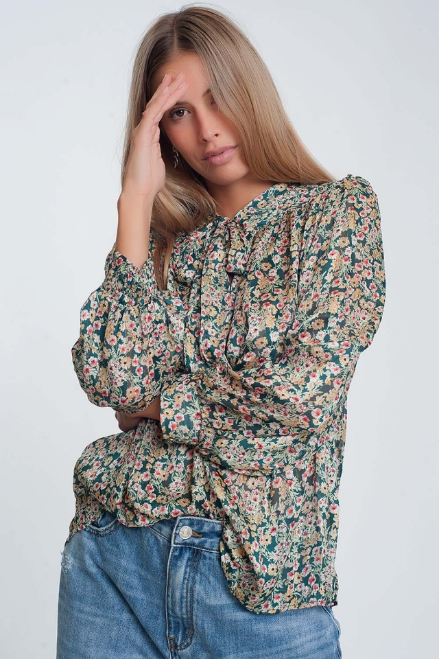 Tie front blouse in green floral