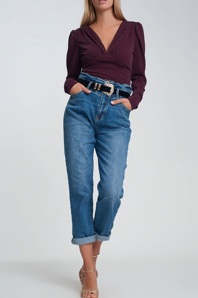 high waisted jeans in denim color