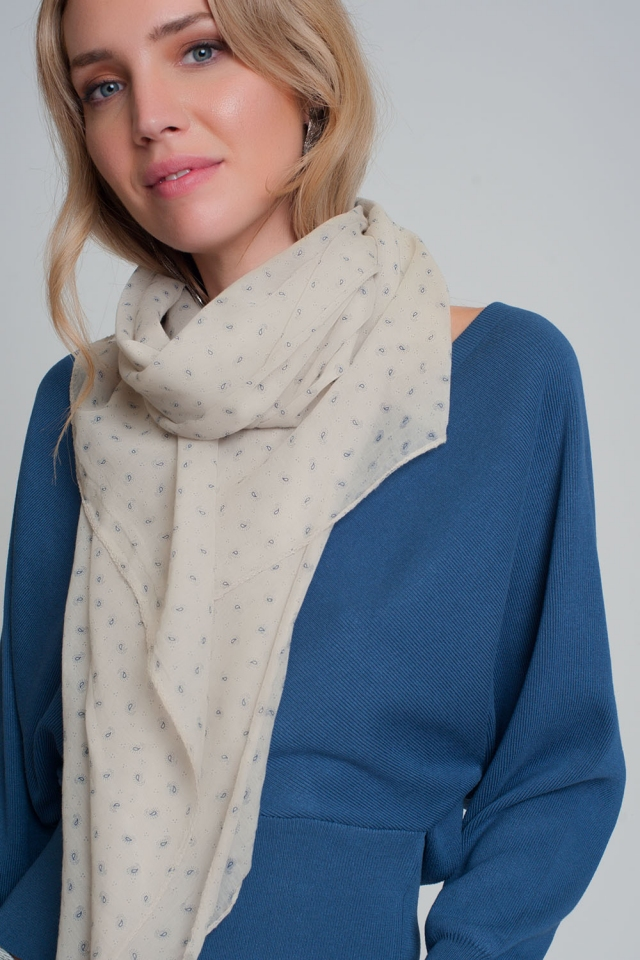 Lightweight cream scarf with paisley pattern