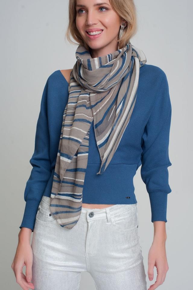 Leichter grauer Schal mit Geodruck