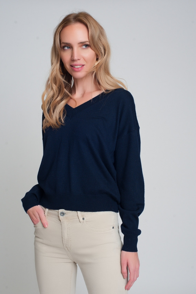 Fine knit navy sweater with v neck