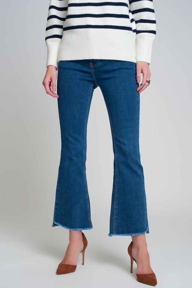 Flare Jeans mit hoher Taille in dunklem Waschblau