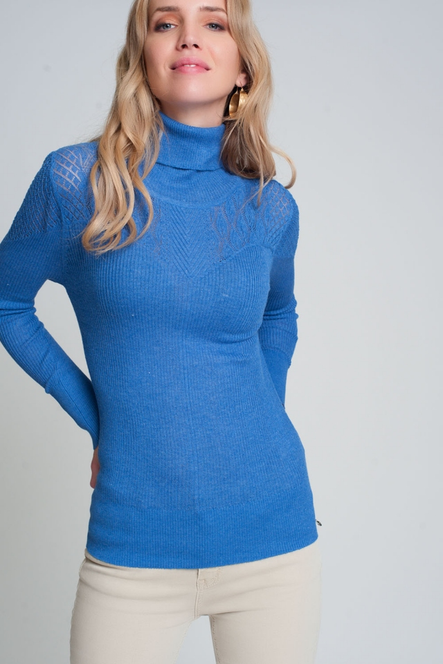 Soft ribbed sweater with turtleneck in blue