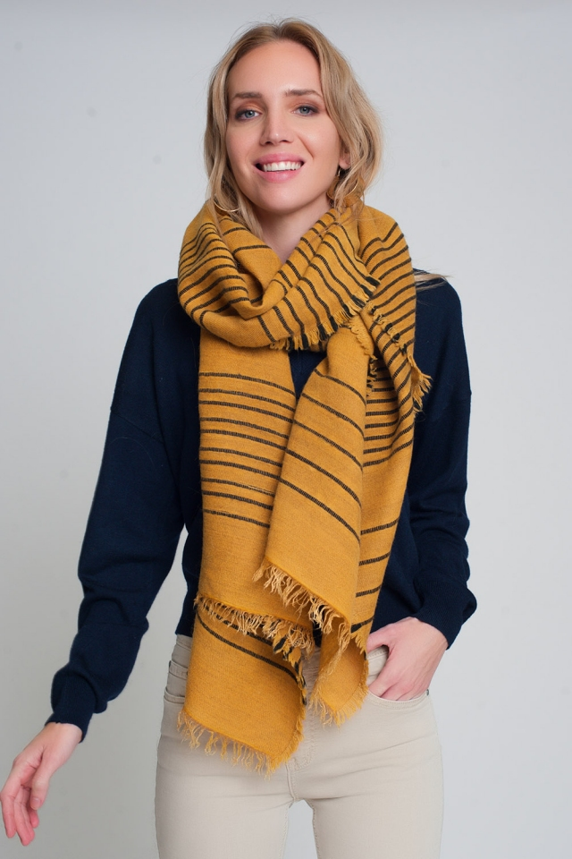 Mustard scarf with black stripes