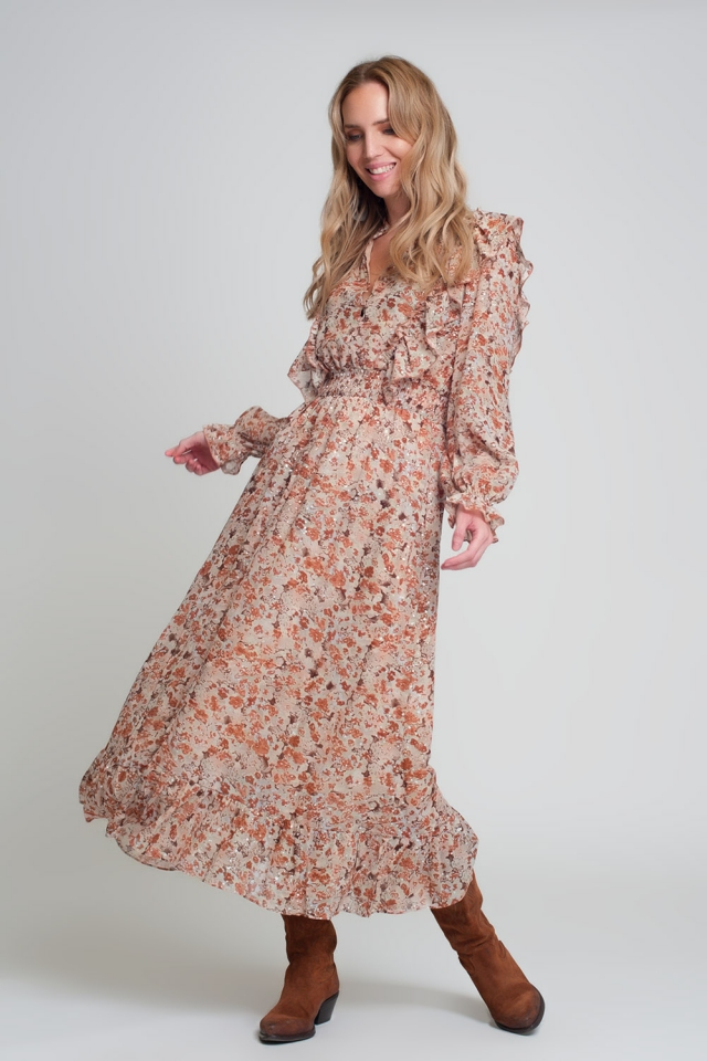Brown floral-print midi dress with ruffles with long sleeves V-neck