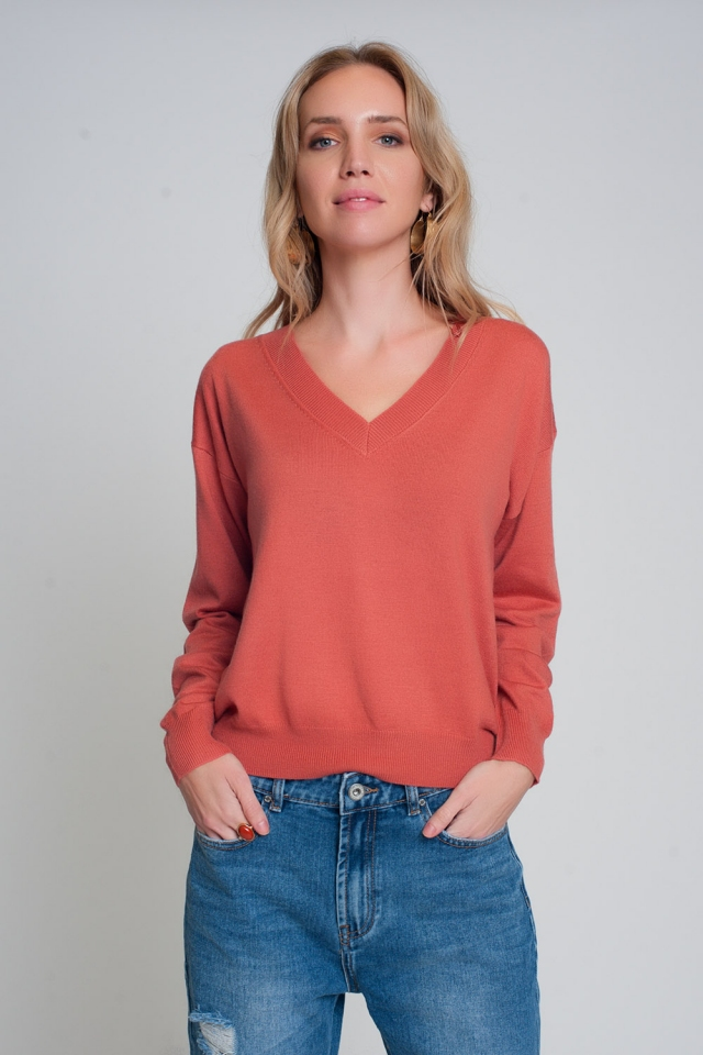 Fine knit coral sweater with v neck