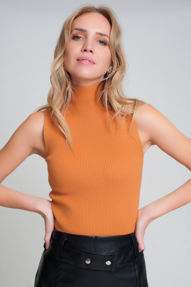 Ribbed knit sleeveless sweater with high neck in orange