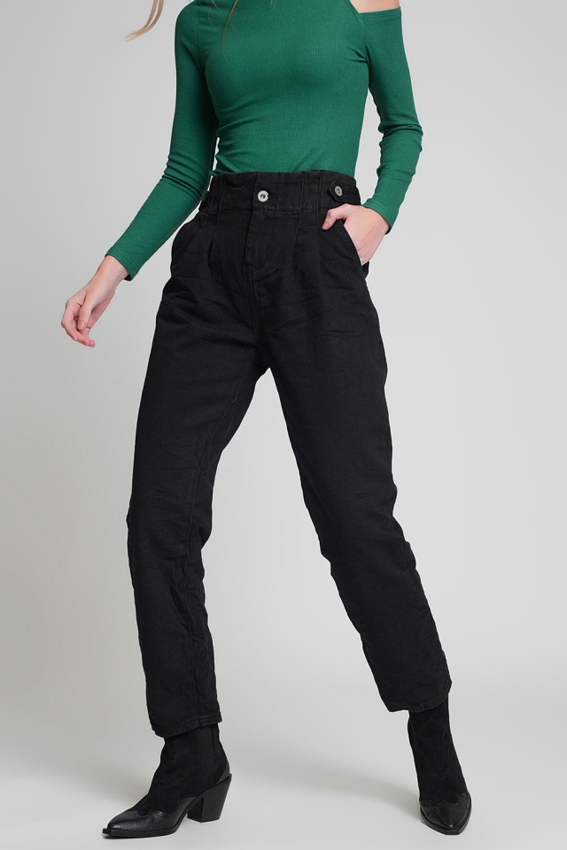 Jeans with paper bag waist and button details in black