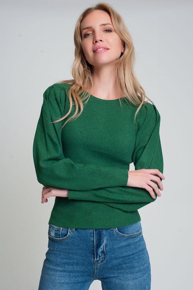 Gerippter Strickpullover mit Rundhalsausschnitt und lange Ärmel in Grün