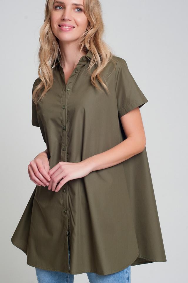 Short sleeves oversized poplin shirt in khaki