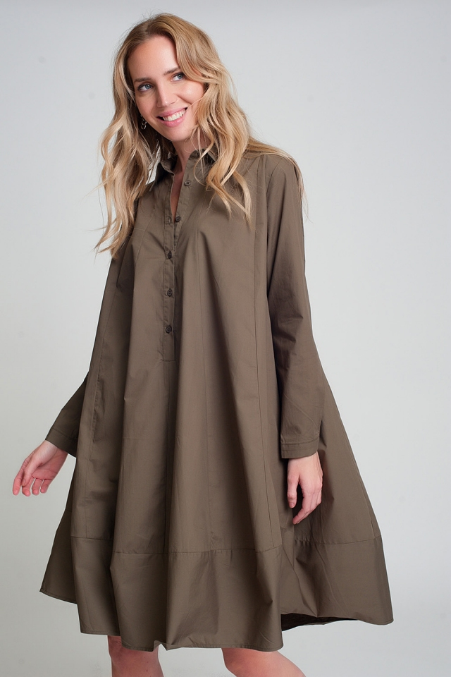 Poplin oversized smock dress in khaki
