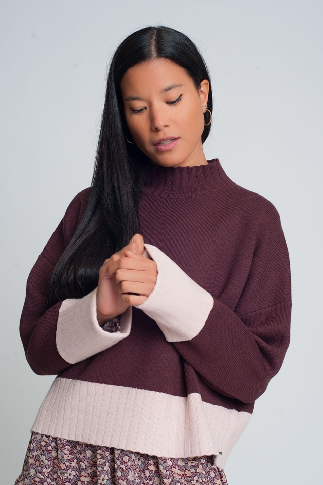 Maroon high neck knitted sweater with pink cuffs