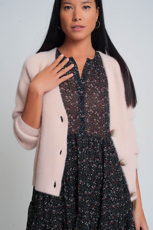 Soft cardigan with buttons and deep v neck in pink