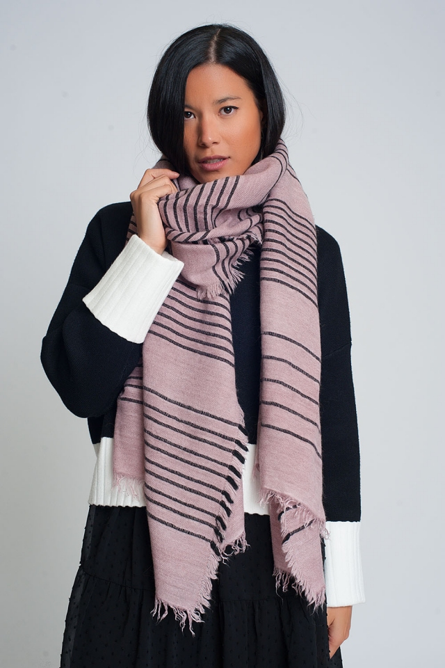 Pink scarf with black stripes