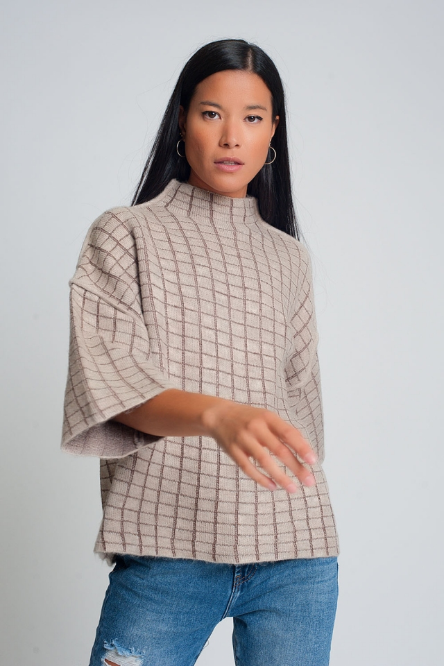 Fine knit sweater with high neck in cream check pattern