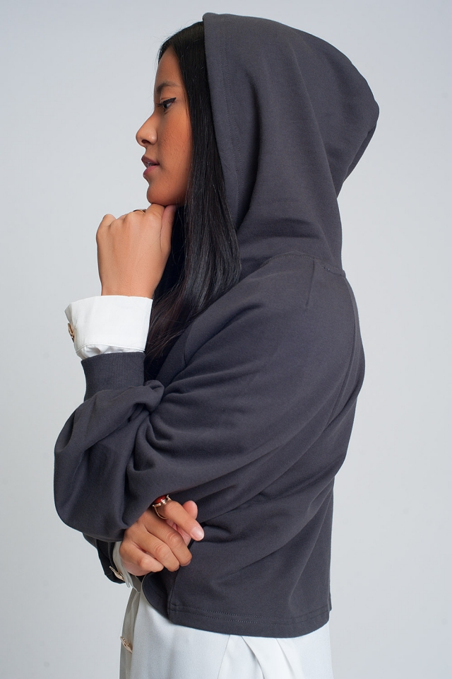 Crop hoodie with v neck in dark grey