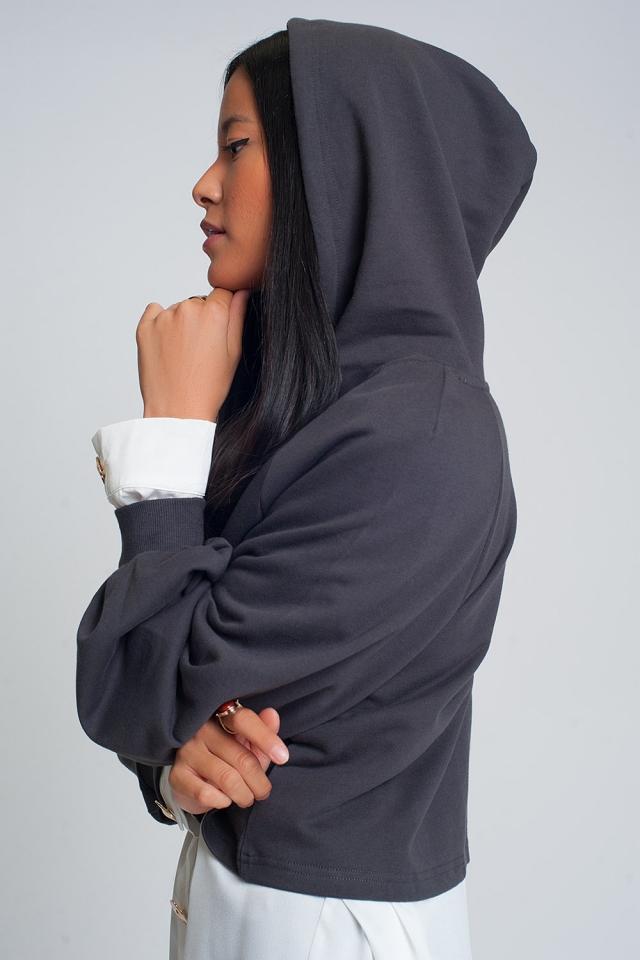 Crop hoodie with v neck in dark grey