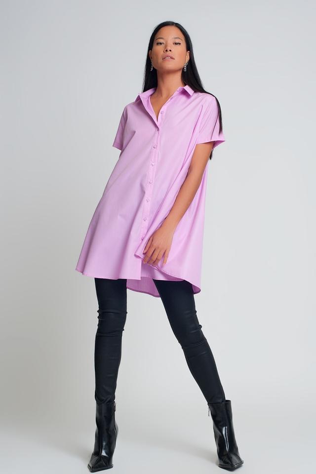 Oversize-Popelinehemd mit kurzen Ärmeln in Lila