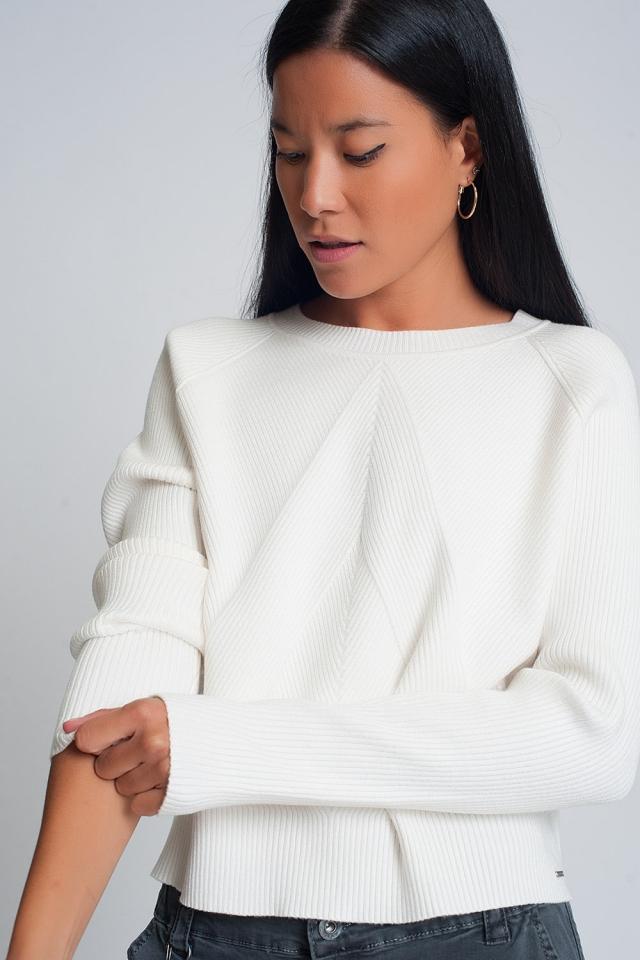 Round neck rib knitted sweater in cream