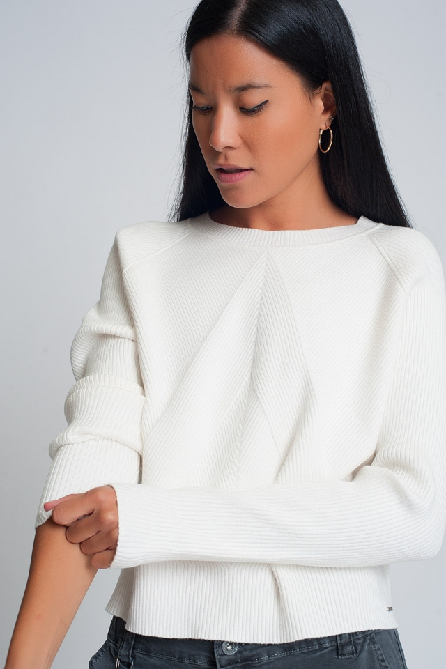 Round neck rib knitted sweater in cream