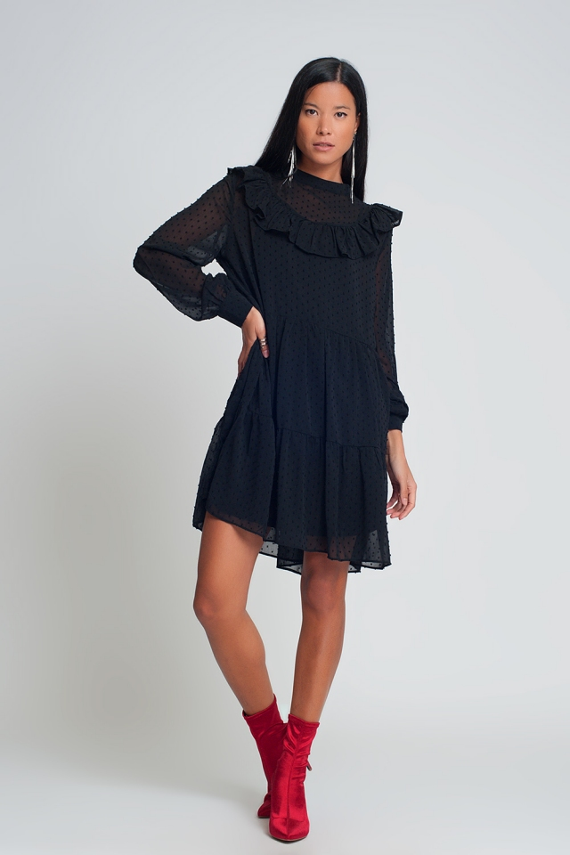Smocked chiffon mini dress with ruffles puff sleeves in black with polk dot