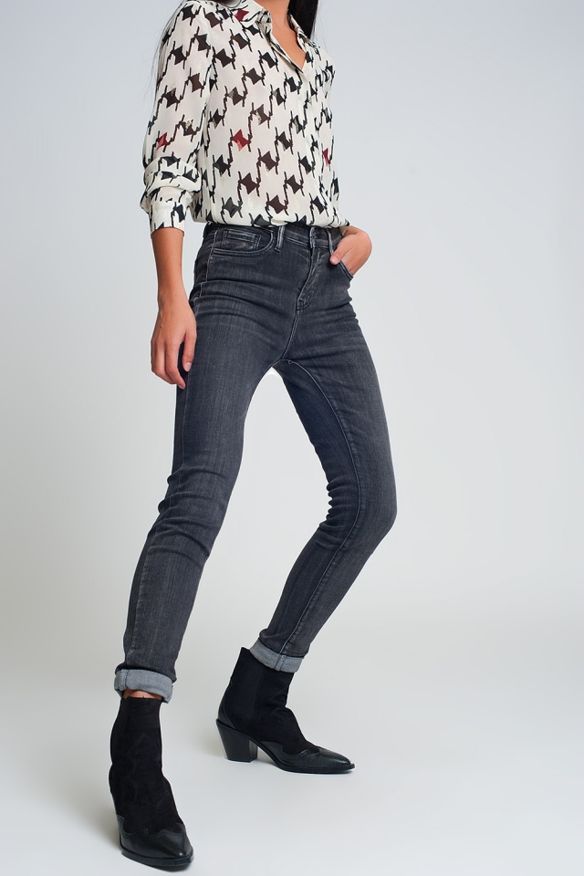 High rise skinny jeans in washed black