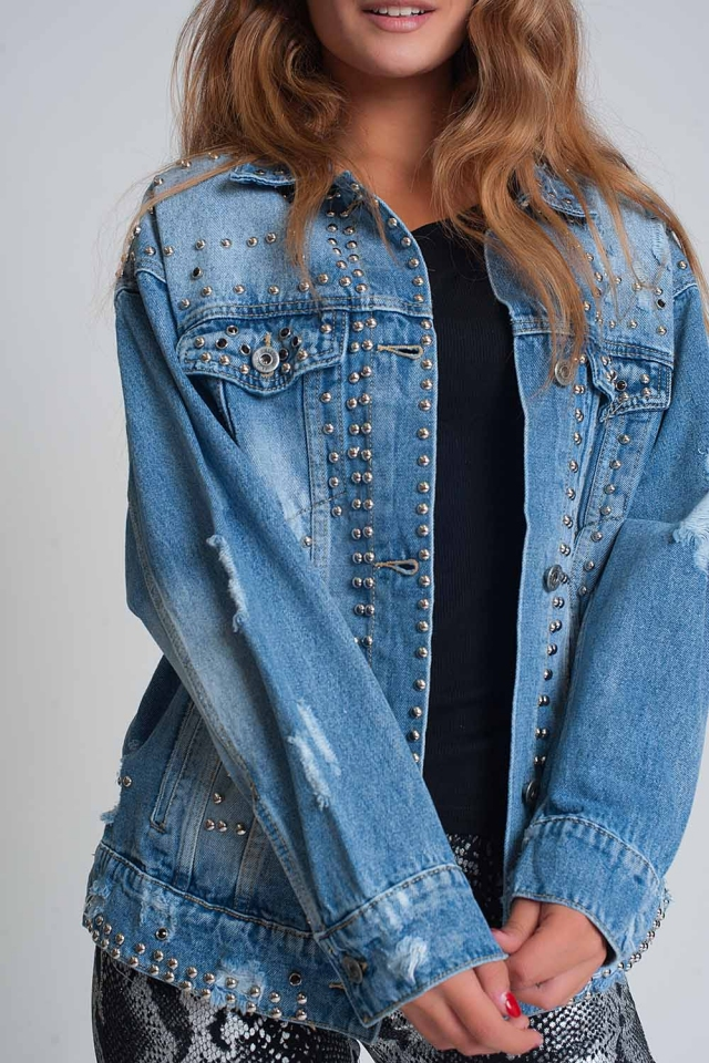 Loose denim jacket with studs