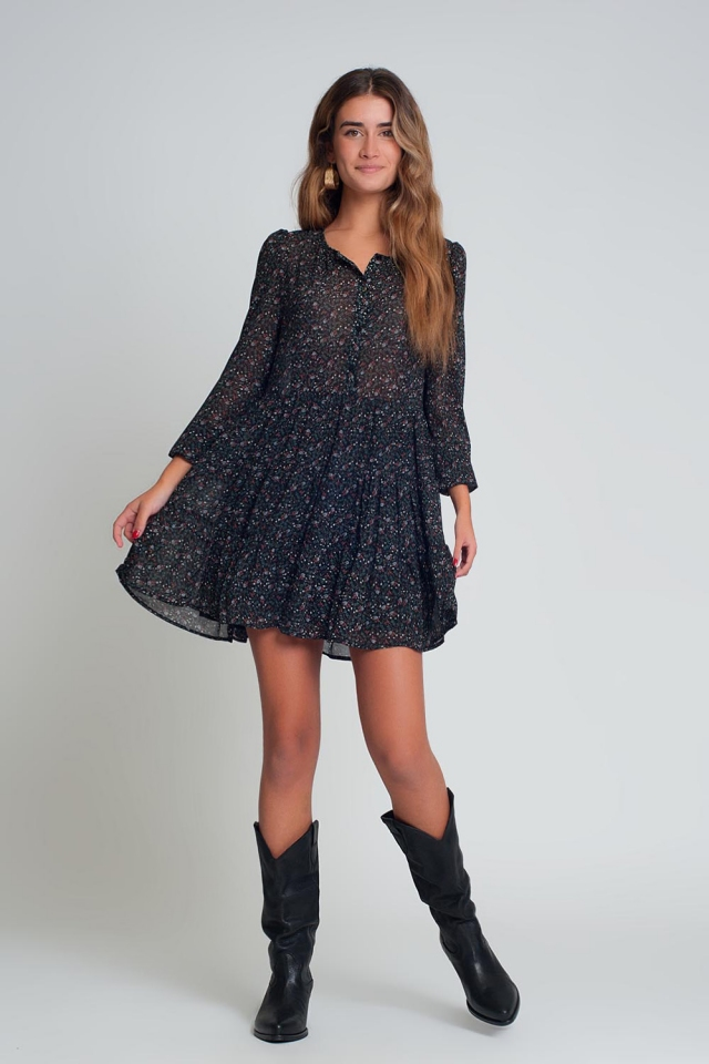 Black short chiffon dress with long sleeves and ruffles in floral print