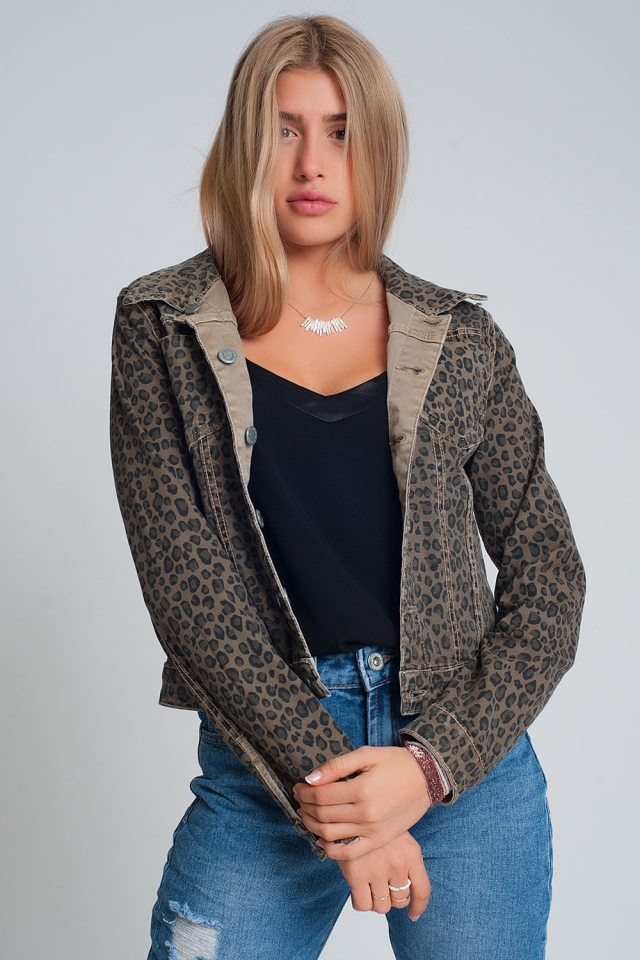 Denim jacket reversible with pockets in leopard print beige