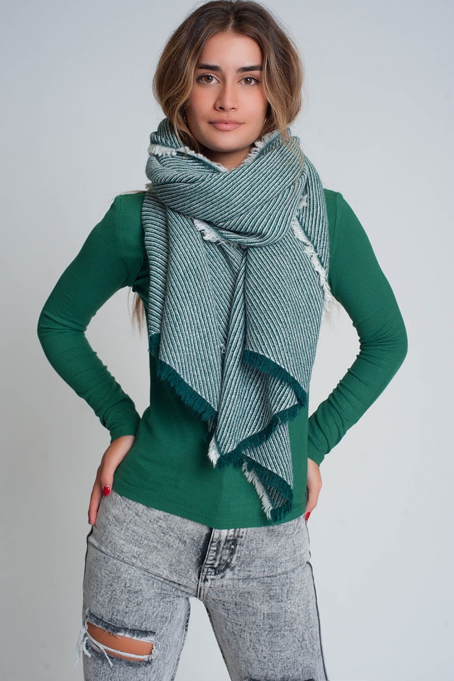 Oversized green frayed scarf