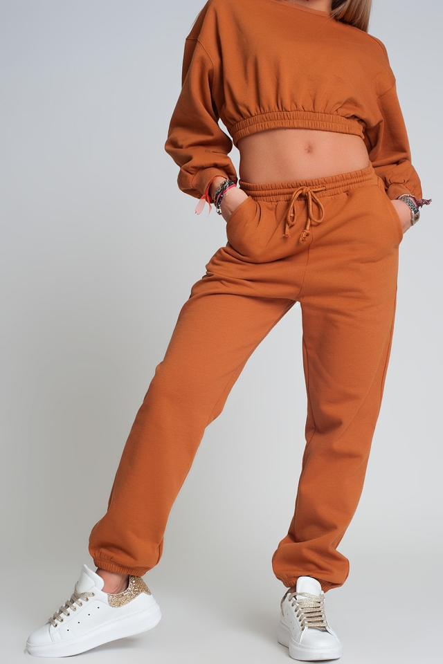 Basic sweatpants with tie waist in cotton in camel