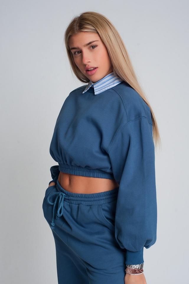 Oversized cropped sweatshirt in blue