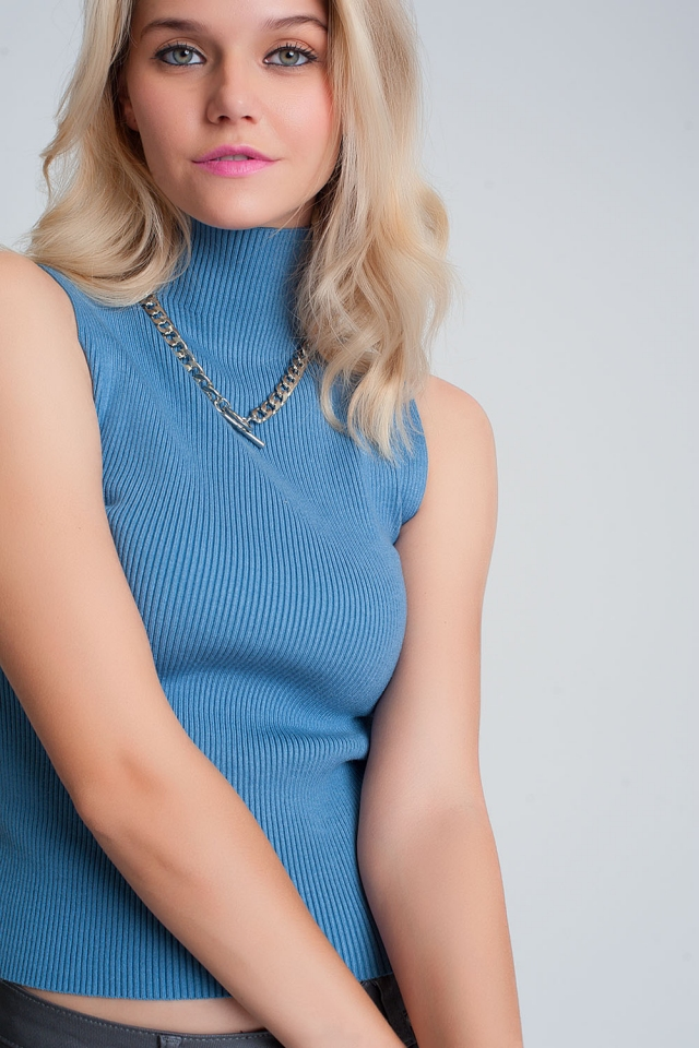 Ribbed knit sleeveless sweater with high neck in blue